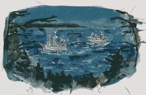 Sailors sleeping in their ships at night, away from the forest