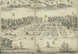 """A View of Halifax Drawn from Ye Topmasthead"" 1749. Courtesy of Nova Scotia Archives, Halifax, NS"