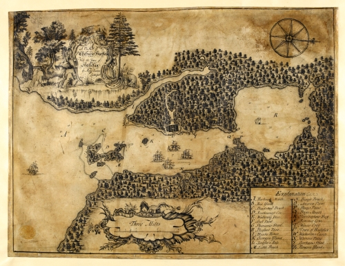 Early Map of Halifax, by Moses Harris, 1749 ((c)British Library Board, Maps K.Top. CXIX. 73)